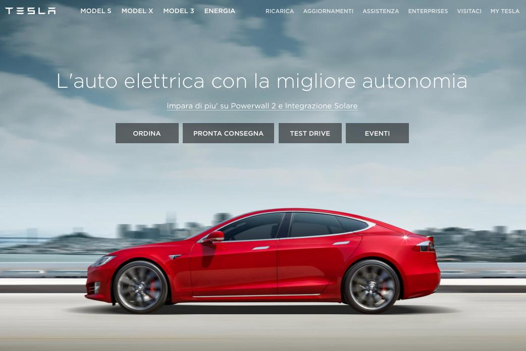 sito web Tesla Motors